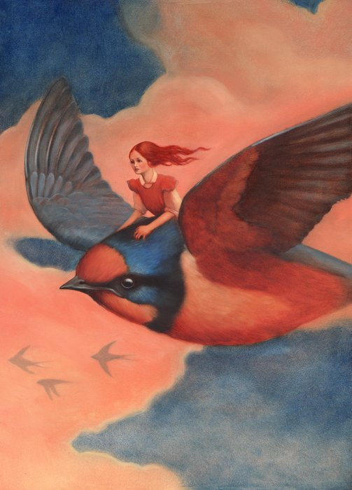 Thumbelina and Swallow Illustration
