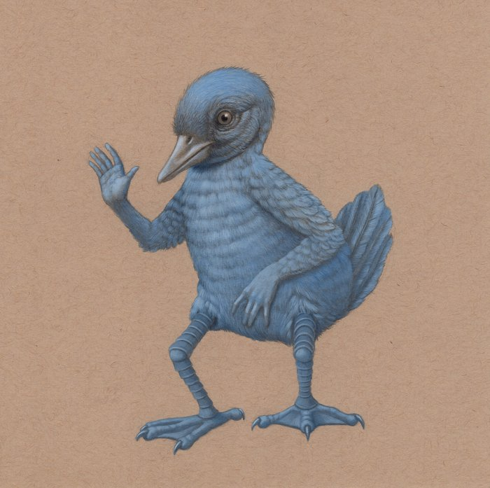 Bright Blue Awkward Greeting Bird